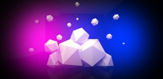 3d render. Abstract background with a polygon, neon light. Neon abstract background with backlight, modern design. White polygons scattered particles Royalty Free Stock Photos