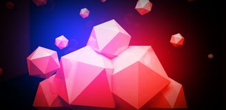 3d render. Abstract background with a polygon, neon light. Neon abstract background with backlight, modern design. White polygons scattered particles Stock Photos