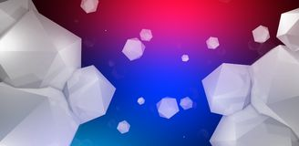 3d render. Abstract background with a polygon, neon light. Neon abstract background with backlight, modern design. White polygons scattered particles Royalty Free Stock Image