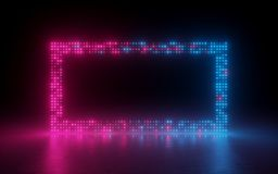 3d render, abstract background, screen pixels, glowing dots, neon light, virtual reality, ultraviolet spectrum, pink blue stage. 3d render, abstract background stock illustration