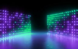 3d render, abstract background, screen pixels, glowing dots, neon lights, virtual reality, ultraviolet spectrum, laser show stage. 3d render, abstract background vector illustration