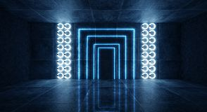 3d render, abstract background, tunnel, neon lights, virtual reality, arch, pink blue, vibrant colors, laser show, isolated on bla. Ck. Dark room, corridor royalty free stock images