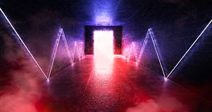 3d render, abstract background, tunnel, neon lights, virtual reality, arch, pink blue, vibrant colors, laser show, isolated on bla. Ck. Dark room, corridor royalty free stock photography