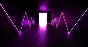 3d render, abstract background, tunnel, neon lights, virtual reality, arch, pink blue, vibrant colors, laser show, isolated on bla. Ck. Dark room, corridor royalty free stock photo