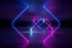 3d render, abstract background, ultraviolet neon light, virtual reality, glowing lines, tunnel, pink blue vibrant colors, laser. 3d render of abstract background royalty free stock photo