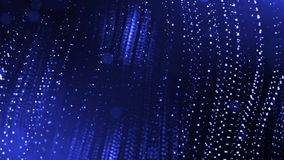 3d render of abstract blue composition with depth of field and glowing particles in dark with bokeh effects. Science. 3d render of abstract composition with royalty free illustration