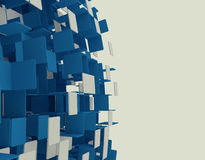 Abstract cube background. 3D render of abstract blue cubes Royalty Free Stock Photo