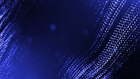 3d render of abstract blue composition with depth of field and glowing particles in dark with bokeh effects. Science. 3d render of abstract composition with stock illustration