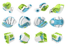 3D render of abstract 3D geometrical icons Stock Images