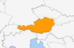 3d render of abstract map of Austria. Highlighted in orange color Royalty Free Stock Photos