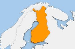 3d render of abstract map of Finland. Highlighted in orange color Royalty Free Stock Images