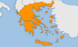 3d render of abstract map of Greece Royalty Free Stock Image