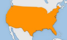 3d render of abstract map of United States of America. Highlighted in orange color Stock Images
