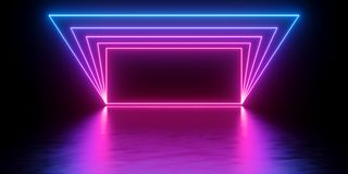 3d render, abstract minimal background, glowing lines tunnel, arch, corridor, pink blue neon lights, ultraviolet spectrum, virtual stock illustration