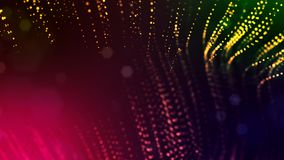 3d render of abstract multi-color composition with depth of field and glowing particles in dark with bokeh effects. 3d render of abstract composition with depth stock illustration