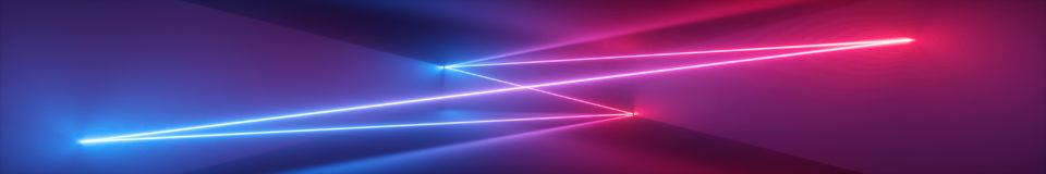 3d abstract panoramic virtual background, neon light, tunnel, corridor, glowing lines, geometric shapes, ultraviolet spectrum. 3d render, abstract panoramic royalty free illustration