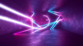 4k 3d render, looped animation tunnel, abstract seamless background, fluorescent ultraviolet light, glowing neon lines stock footage