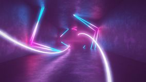 4k 3d render, looped animation tunnel, abstract seamless background, fluorescent ultraviolet light, glowing neon lines. 3d render, abstract seamless background stock illustration