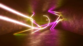 4k 3d render, looped animation tunnel , abstract seamless background, fluorescent ultraviolet light, glowing neon lines stock footage