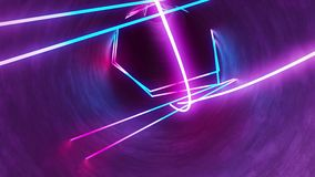 4k 3d render, looped animation tunnel, abstract seamless background, fluorescent ultraviolet light, glowing neon lines stock video footage