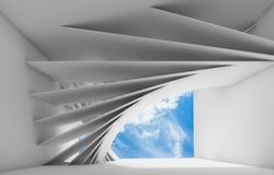 3d render. Abstract white empty interior. Abstract white empty interior with geometric installation and blue cloudy sky in empty window opening. 3d render Royalty Free Stock Photography