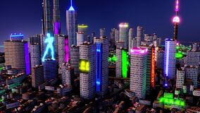 3d render. Aerial view of a Dystopian Shanghai city in the future with projection mapping on buildings with cyberpunk