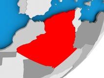 Map of Algeria. 3D render of Algeria on political globe. 3D illustration Royalty Free Stock Photography