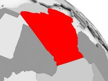 Map of Algeria. 3D render of Algeria in red on grey political globe. 3D illustration Royalty Free Stock Photo