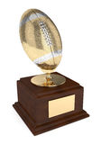 3d render of american footballl trophy over white. 3d render of american football trophy isolated on white background Royalty Free Stock Photography