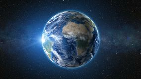 3D Render: Sunrise view from space on Planet Earth Royalty Free Stock Photos