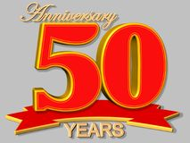 3D Render Anniversary 50 years. Illustration image Stock Images