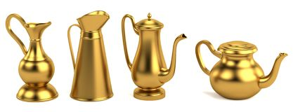 3d render of antique teapots Royalty Free Stock Photography