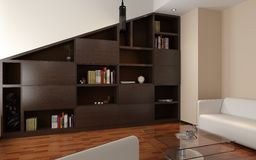 3d render of apartment living room with bookcase Stock Photo