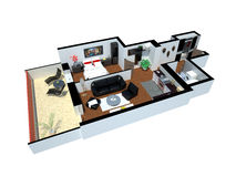 3d render of apartment from top Royalty Free Stock Photos