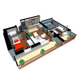3d render of apartment from top Stock Photos