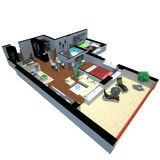 3d render of apartment from top Royalty Free Stock Images