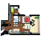 3d render of apartment from top Stock Photography