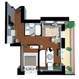 3d render of apartment from top Stock Photo