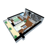 3d render of apartment from top Royalty Free Stock Photo