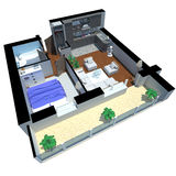 3d render of apartment from top Royalty Free Stock Image