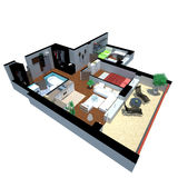 3d render of apartment from top Royalty Free Stock Photography