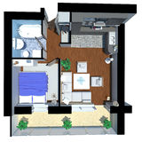 3d render of apartment from top Stock Images