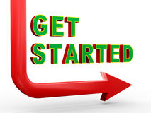 3d arrow and get started. 3d render of arrow and phrase get started Stock Photography