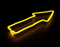 3d render arrows yellow neon sign on black background. 3d render arrow yellow neon sign isolated on black wood or aluminum background Stock Images