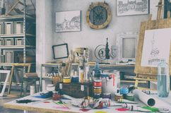 3d render - artistic equipment in a studio - retro look. 3d render - artistic furnishing in the studio with a table full of colours and brushes, in the Stock Images