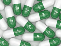 3d render of B9 folic acid pills over white Stock Image