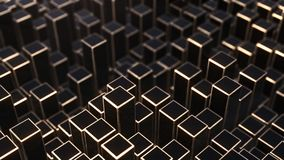 3D render Background from black and golden squares. 4k Royalty Free Stock Photo