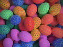 Easter eggs with floral patters. 3D render of background of colorful easter eggs with floral patterns Stock Photo