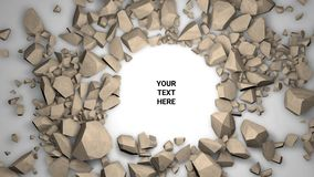 3d render background. Cracked stone placeholder. 3d render abstract background. Cracked stone with your text place. Placeholder on paper white stock illustration