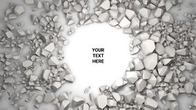 3d render background. Cracked stone placeholder. 3d render abstract background. Cracked stone after explosion with your text place. Placeholder on paper white royalty free illustration